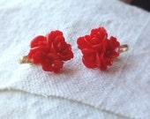 Red Blossom Clip on Earrings --regular stud earrings option