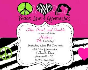 Peace Love Gymnastics Birthday Invitation