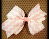 Light Pink and White Chevron Print Hairbow...Girls Hairbows...Baby/Infant Hairbows...Hairclips...Chevron...Bows