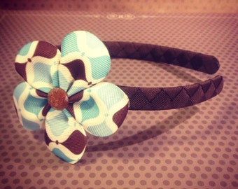 Turquoise, Brown and White Flower Hairclip with Chocolate Brown Woven Headband...Girls Headband...Baby/Infant Headband