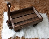 Handcrafted wood wagon Newborn Photography Prop organic prop