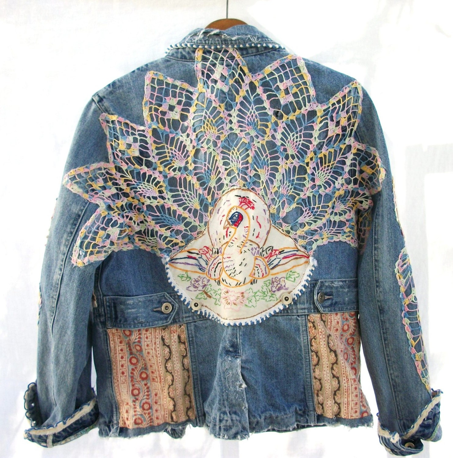 Aged Denim Jacket Vintage Crochet Amp Embroidered Peacock