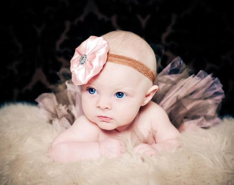 Vintage Pink and Brown Tutu Set with Matching Sewn Satin Rhinestone Headband Newborn-3T Photography Prop