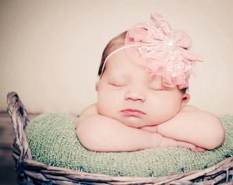 Vintage Pink Lace Baby Headband Newborn Photography Prop