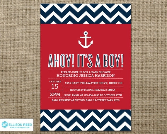 nautical baby shower invitation nautical printable anchor, Baby shower invitations