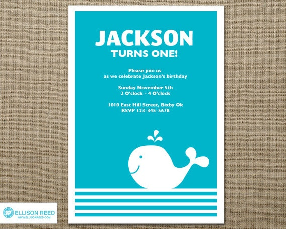first birthday invitation  whale invitation  nautical birthday, Birthday invitations