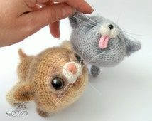 020 2 Kittens toy with wire frame - Amigurumi Crochet Pattern - PDF file by Pertseva Etsy