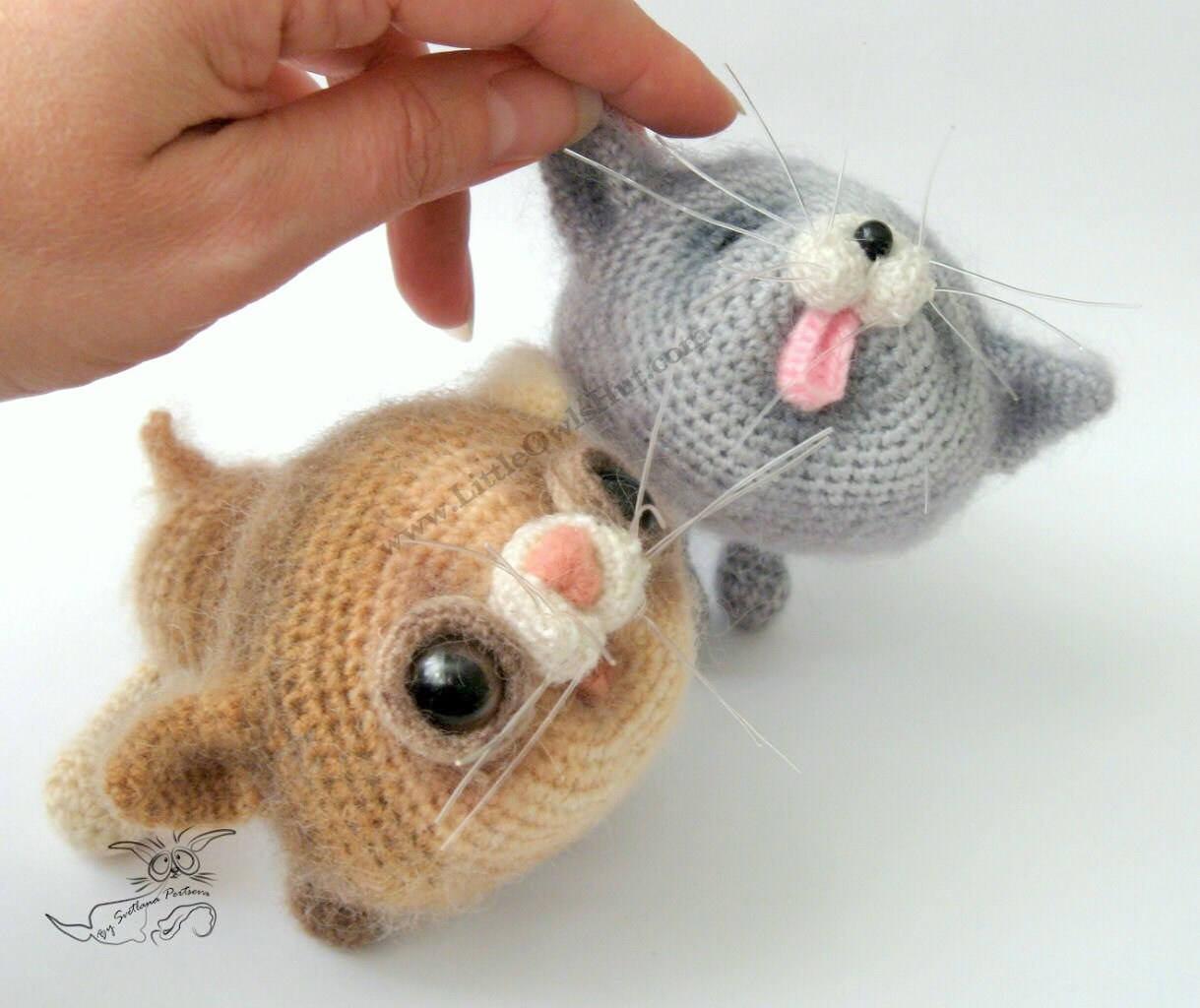Crochet Patterns Kittens : 020 2 Kittens toy with wire frame Amigurumi Crochet Pattern