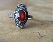 Vintage ART DECO ring - Flapper Cocktail Ring - 1920s Jewelry - Red Garnet and Marcasite Ring . Sterling Silver