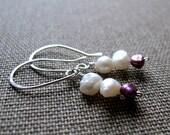 Sterling Silver Pearls Earrings. Long Dangle Pearl Earrings. Purple Elegant Pearl Ear Wire
