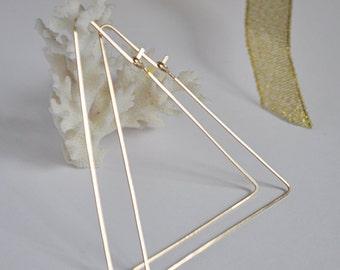 Gold Triangle Hoops - Geometric Hoop Earrings - 14k Gold Filled Ear Wires - Modern Jewelry - Triangle Hoop Earrings - Triangle Earrings