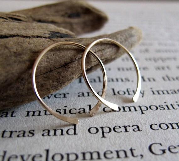 Small Gold Filled Hoop Earrings - Handmade Hammered Hoops - Minimalist Gold Jewelry - Gold Hoop Earrings - Everyday Earrings crescent moon