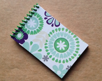 UPCYCLED NOTEBOOK FLOWER tissue box recycled spiral bound journal