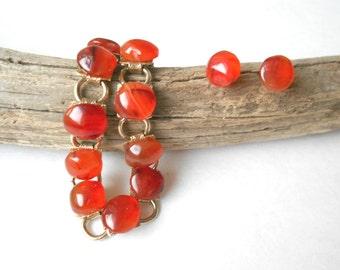 Vintage Carnelian Bracelet & Earring Set, Vintage Bracelet, Carnelian Earrings