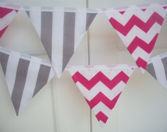 SALE - pink with white chevron & grey stripe fabric flag banner bunting - 12 flags