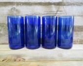 New Size-Cobalt Blue Tumblers 16 oz made with Reisling Wine Bottles-Set of 4