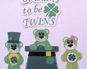 RESERVED FOR KAREN St Patrick's Day Bears premade Scrapbook Paper Pieced Horseshoe Top Hat Shamrock