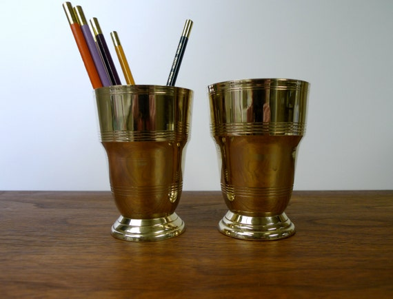 Vintage Mid Century Brass Cups For Desk Or Bath