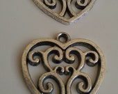 6 Heart Pendants Charms Tibetan Antique Silver Finish Grooved Filigree Scroll 7/8""
