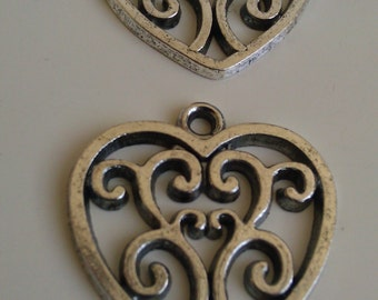 """12 Heart Pendants Charms Tibetan Antique Silver Finish Grooved Filigree Scroll 7/8"""""""