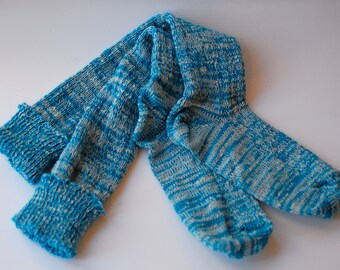 Socks Turquoise Aqua Knee High Boot Handcranked Ragg Variegated Wool Cotton Blend