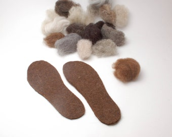 Organic wool felt insoles - natural eco-friendly boot shoe slipper clog liners