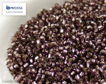 20g Seed beads 11/0 Eggplant Purple Silver Lined Seed Bead Rocailles NR 21 Purple seed beads last