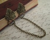 Sweater Guard / Sweater Clip: Antiqued Bronze Leaf Leaves with Antique Bronze Chain. Cardigan Clip. Blouse Clip. Nature Inspired Accessory