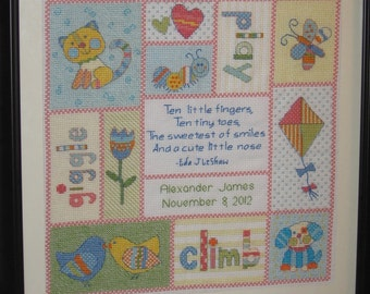 Adorable Thirteen-Panel Baby Birth Announcement Cross-stitch - Made to Order
