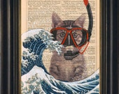 Whimsical Mixed media with Acrylic Painting of  Hokusai's Great Wave with Scuba Cat  Ink and Paint Print on 1860's Antique Page