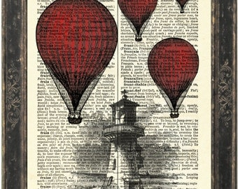 Red Balloon  over Lighthouse Print on 1900's French English Dictionary Recycled Book Page