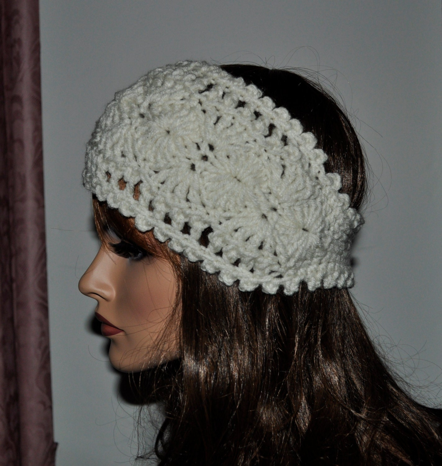 Free Crochet Pattern Headband Ear Warmer Button : Crochet Ear Warmer Headband 100 percent Handmade Accessory