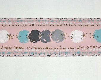 Full Vintage Wallpaper Border - TRIMZ - Blue Gray Dots on Pink, Geometric Design - 3 inch