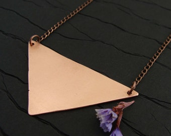 Copper Triangle Shield Pendant || Minimal Necklace || Geometric Jewelry