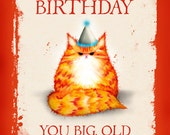 Birthday cat card: Happy Birthday You Big Old Ginger