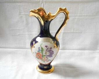 French Vintage Blue & Gold Floral Porcelain Ewer / Pitcher (A750)