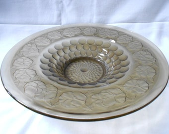 Art Deco French Vintage Pressed Frosted Smoked Glass Pansies & Geometric Pattern Coupe / Bowl (A756)