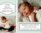 Baby Announcement -- Birth Announcement -- Baby Boy Birth Announcement -- Baby Birth Announcement -- digital, custom, print yourself