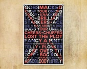 Typography Print British Slang--Typographical Art Print 13x19