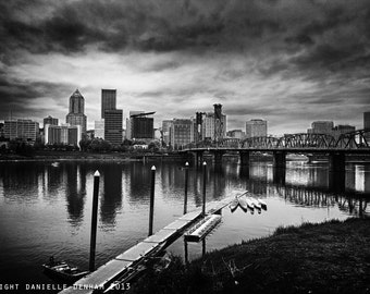 Portland Oregon Skyline in Black and White--Fine Art HDR Photography 13x19