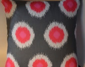 18 inch Pink and Gray Ikat Pillow Cover