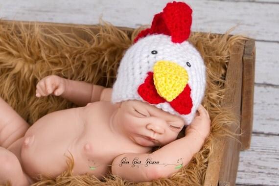 SALE Crochet Rooster Hat, Farm Animal, Photography Prop, Newborn Baby