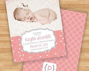 Baby Girl Birth Announcement - Coral Vine and Quatrefoil Design