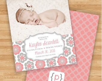 Baby Girl Birth Announcement - Coral and Gray Floral Design
