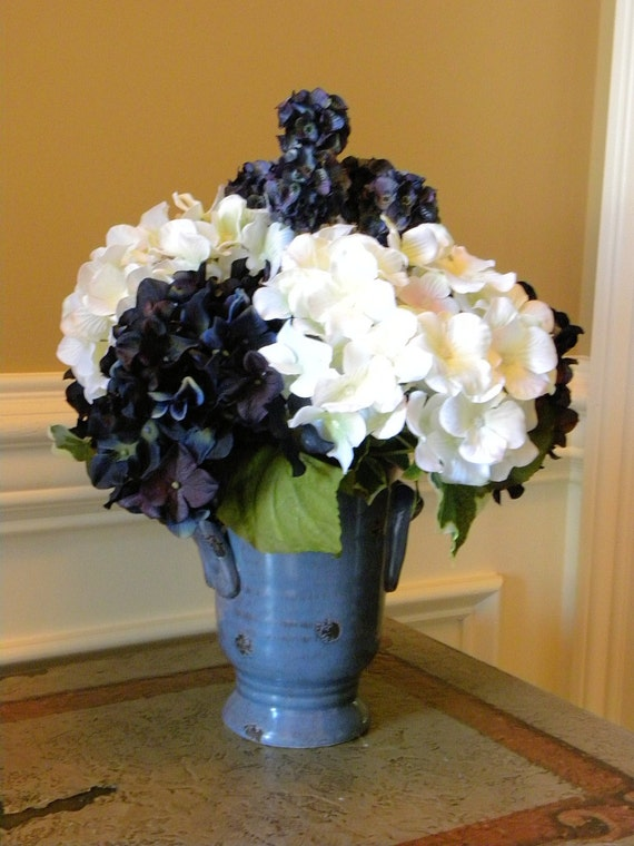 Potted Silk Hydrangea Flowers Ceramic Vase Navy Blue By