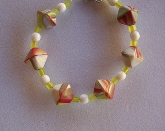 Chartreuse, Red, and White Glass Bead Bracelet