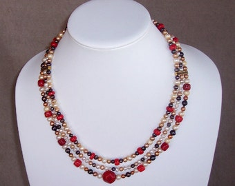 Pearl and Coral Three-Strand Necklace and Earring Set