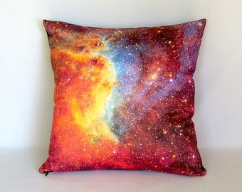 CLEARANCE: Orange/Blue Nebula Galaxy Pillow Cover - NASA Outer Space Photo on Fabric; orange, blue, purple, yellow, red