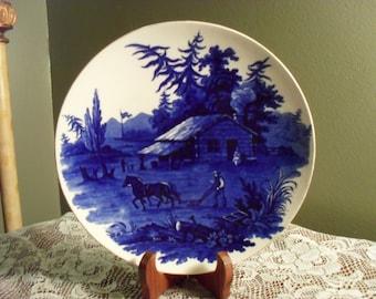 Flow Blue Scene Plate