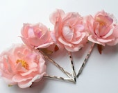 Pink silk flower bobby pins - pink roses clips - hair accessories - wedding accessory - Boho hair blooms